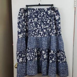 Susan Graver peasant skirt blue floral